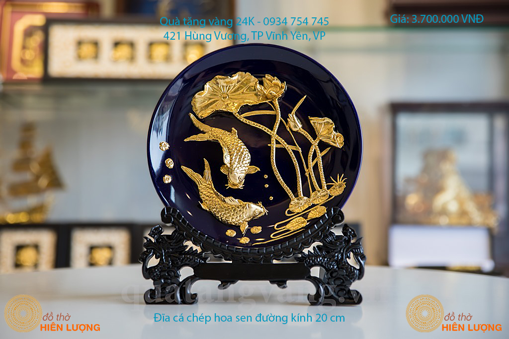 Quà Tặng Sếp- Đĩa Cá Chép Dát Vàng