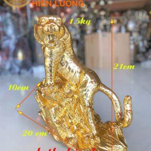 Tượng Hổ Đứng Dát Vàng 24K