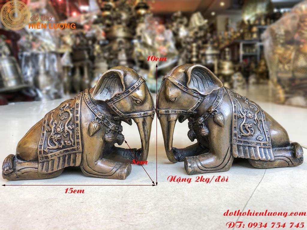Đôi tượng voi quỳ bằng đồng