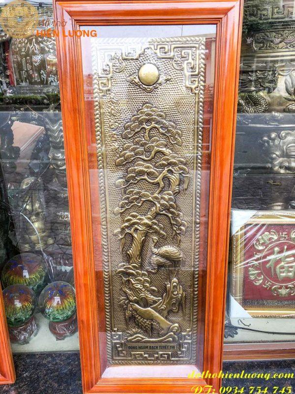Tranh tứ quý bằng đồng giả cổ khung gỗ